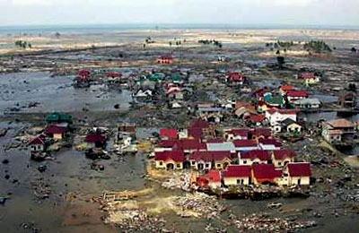 A devastated area of Banda Aceh, Indonesia