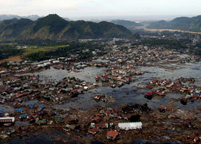 A flooded Sumatra Village