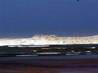 The tsunami, now an enormous wave, closes in - Photo by John Knill and Jackie Knill